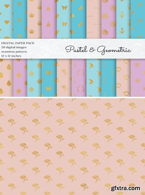 Glitter Geometric Digital Papers 1495686