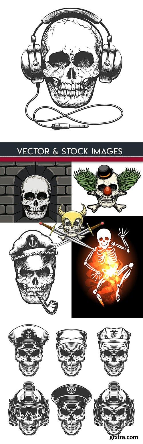 Skull skeleton drawn retro design of tattoo