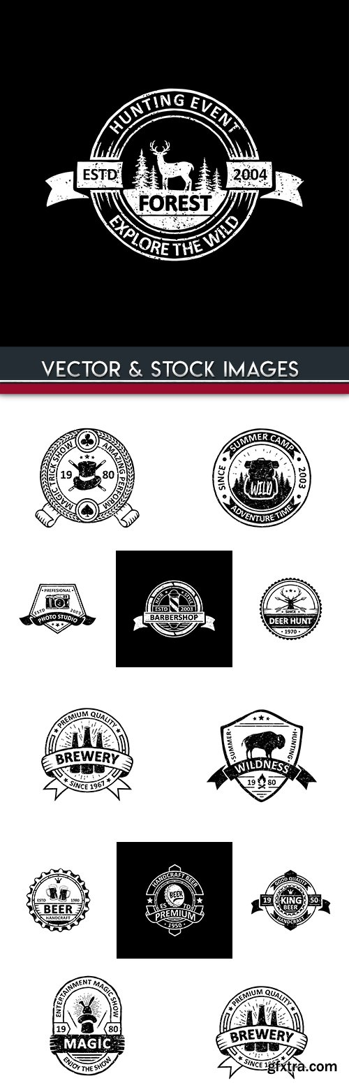 Vintage badges, labels, emblems and logo design