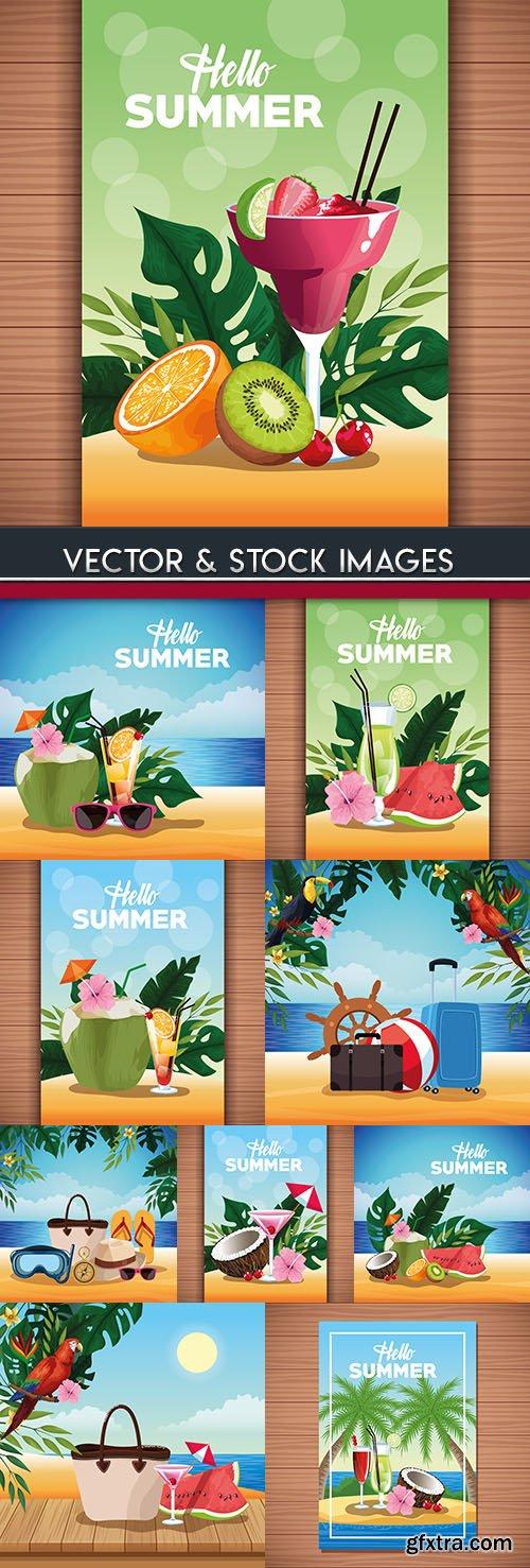 Hello summer beach travel and poster illustration design
