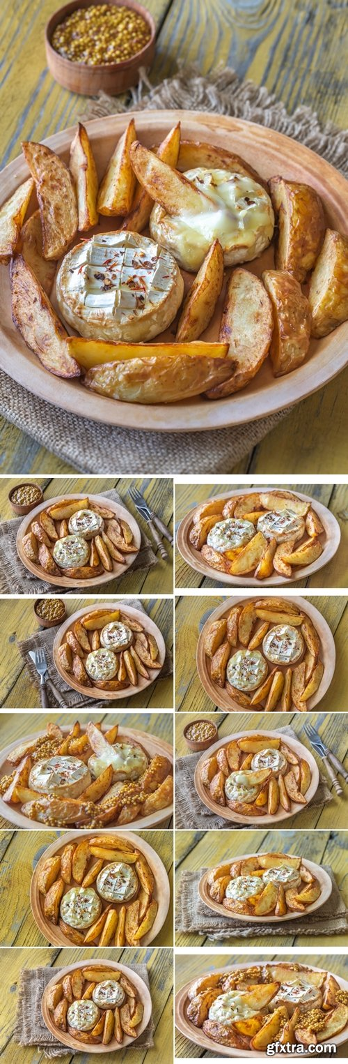 Stock Photos - Baked Camembert cheese with potato