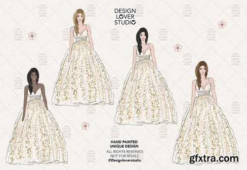 Princess Wedding digital design and paper pack