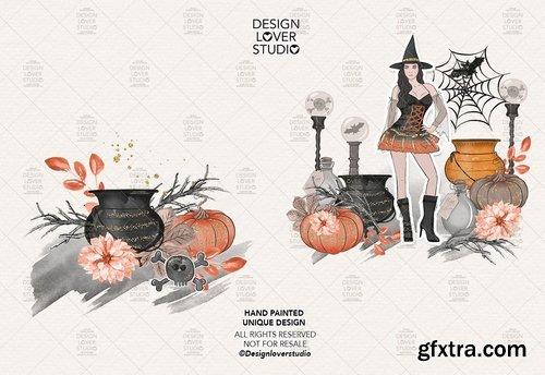 Halloween Girl digital design and paper pack