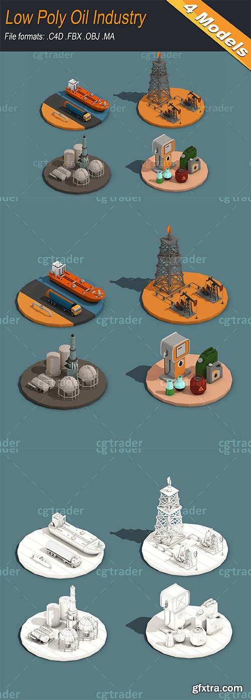 Cgtrader - Low Poly Oil Industry Isometric Low-poly 3D model