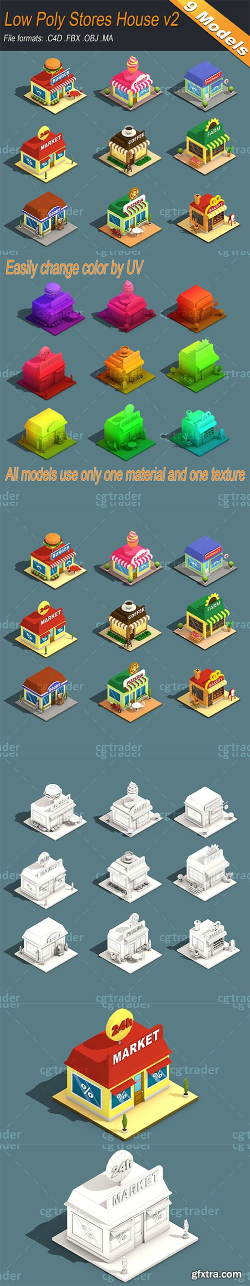 Cgtrader - Low Poly Stores House ver 2 Isometric Low-poly 3D model