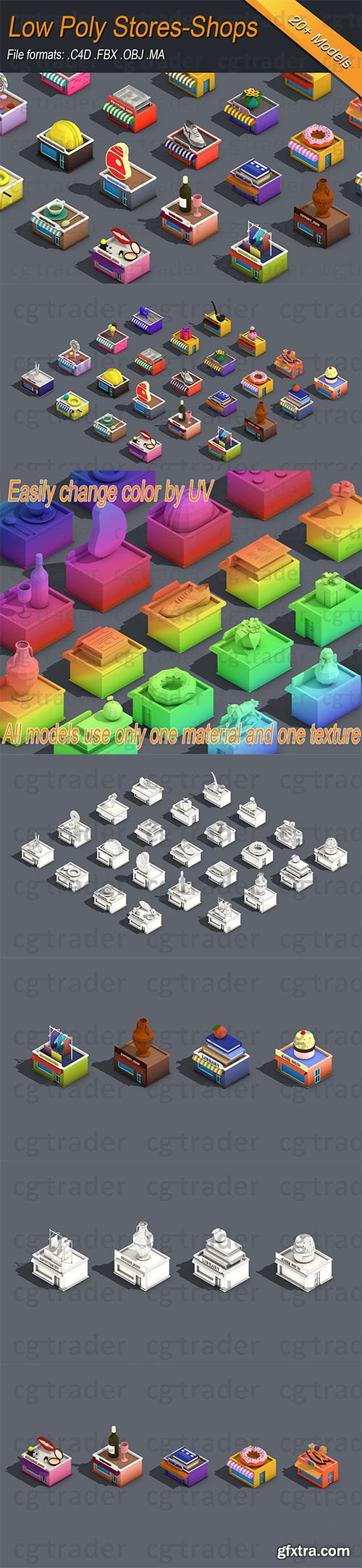 Cgtrader - Low poly Stores Shops Isometric Low-poly 3D model
