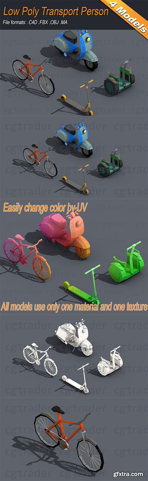 Cgtrader - Low Poly Transport Person Isometric Low-poly 3D model