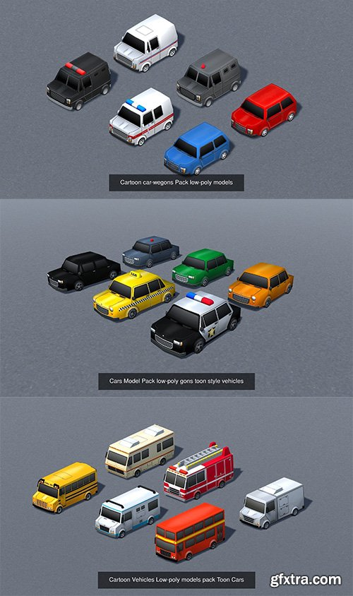 Cgtrader - cartoon vehicles mega pack - lowpoly models 3D Model Collection