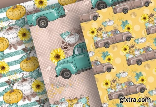 Thanksgiving car digital design and paper pack