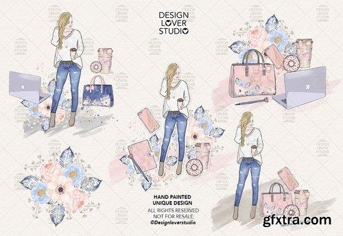 Boss girl digital design and paper pack