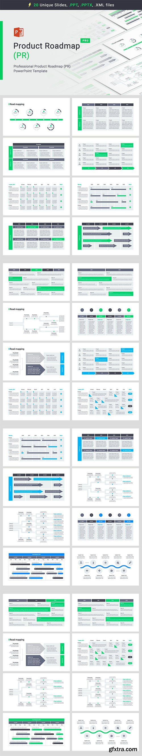 Product Roadmap Powerpoint, Keynote and Google Slides Templates