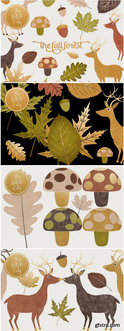 Fall Forest Clipart Set 1498350