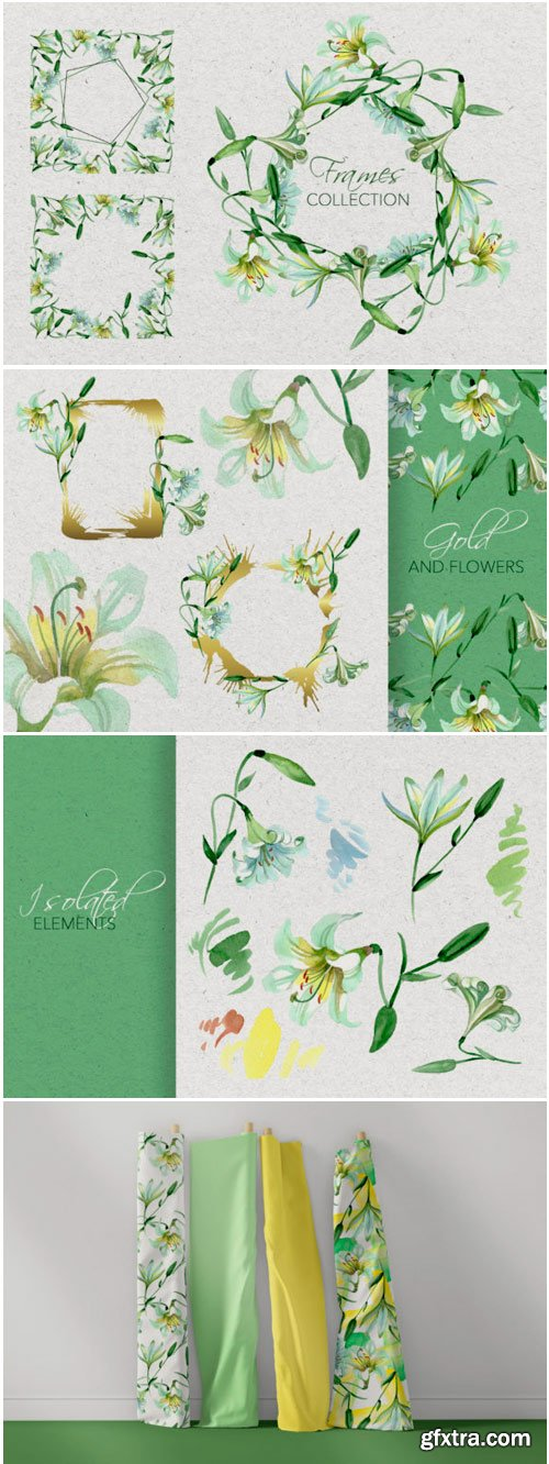 White Lily Watercolor Png 1498356
