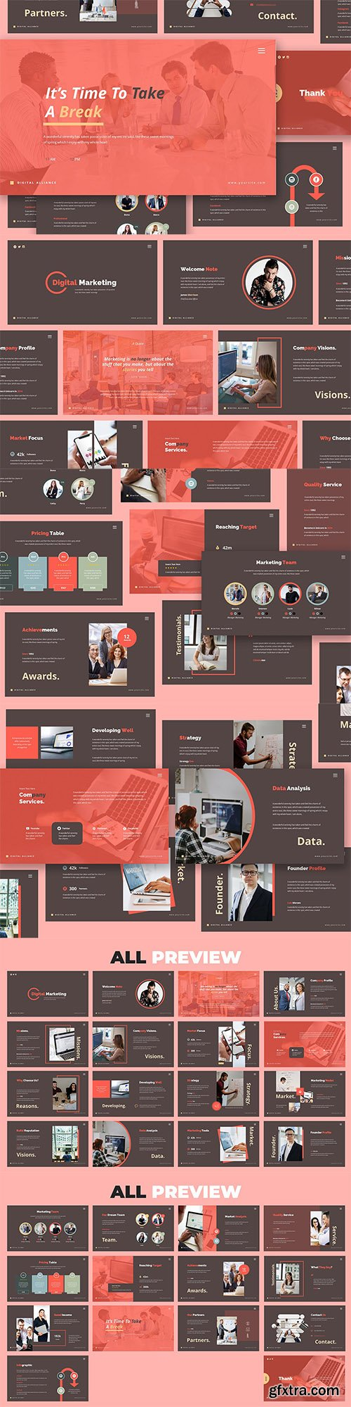 Digital Marketing Powerpoint, Keynote and Google Slides Templates
