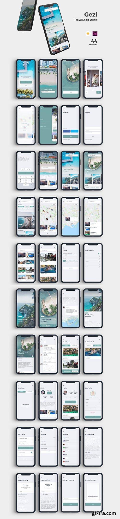 Gezi Travel App UI Kit