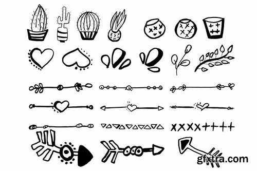 50+ Hand Drawn Cliparts Ver. 3