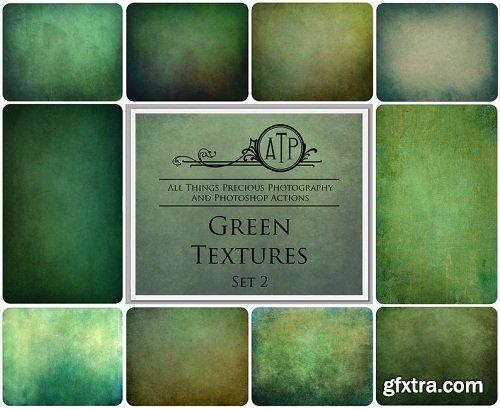 10 Digital GREEN Overlays / Textures Set 2