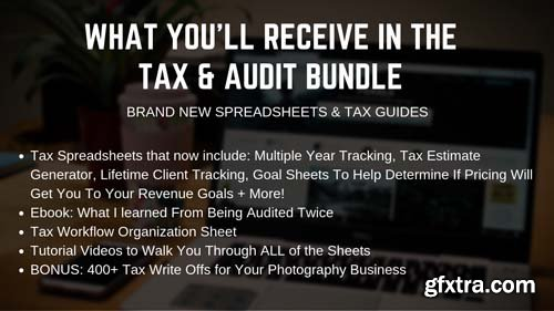 2019 Tax Estimator, Multi-Year Photography Tax Spreadsheets, Tax Write Offs, Audit Prep Guide