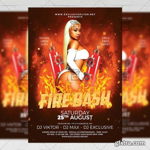 Fire Bash Flyer – Club A5 Template