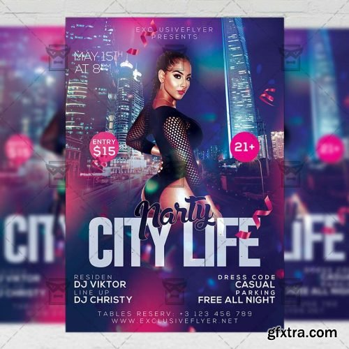 City Life Party Flyer – Club A5 Template
