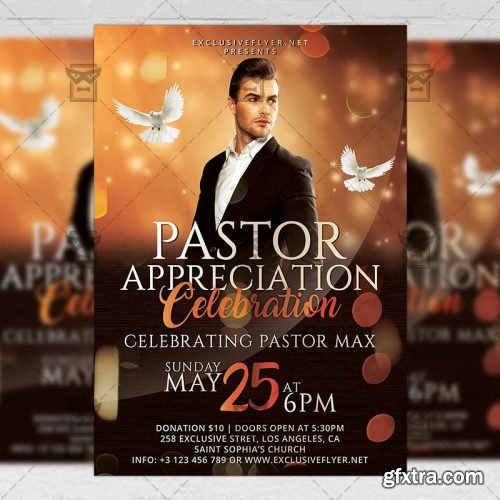 Pastor Anniversary Flyer – Club A5 Template