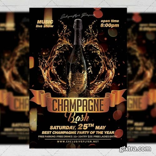 Champagne Bash Flyer – Club A5 Template