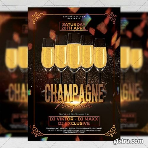 Champagne Nights Flyer – Club A5 Template