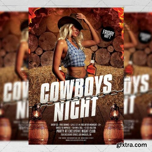Cowboys Night Flyer – Club A5 Template