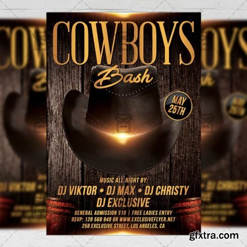 Cowboys Bash Flyer – Club A5 Template