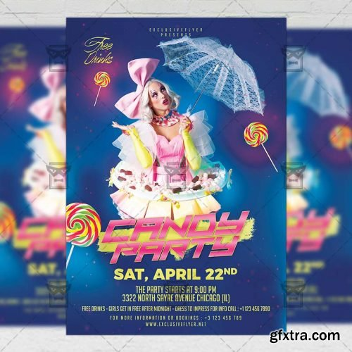 Candy Party Flyer – Club A5 Template