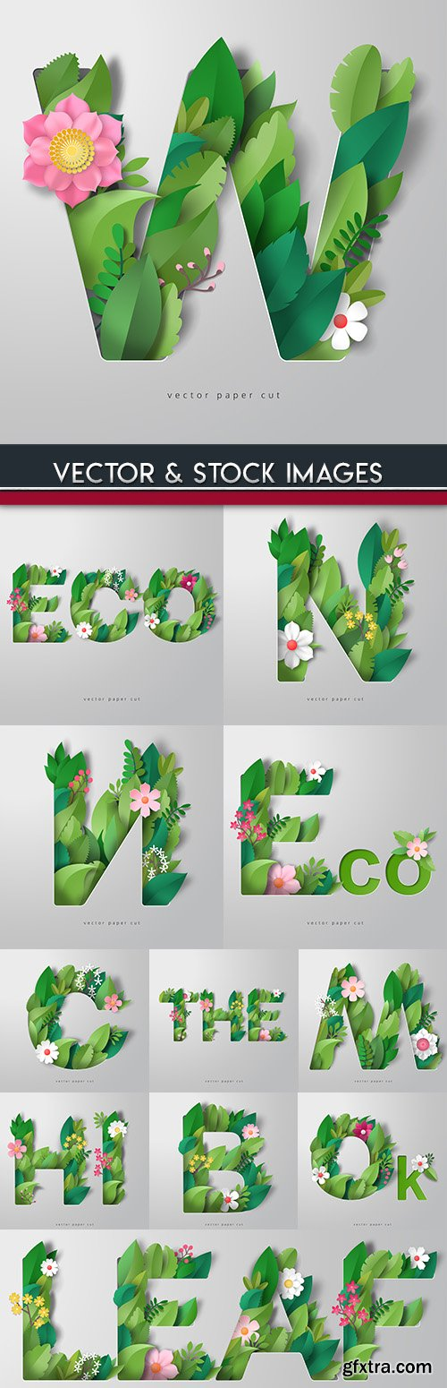 3D alphabet with decorative flowers and leaves