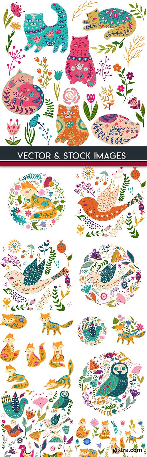 Birds and animals with decorative flowers for design