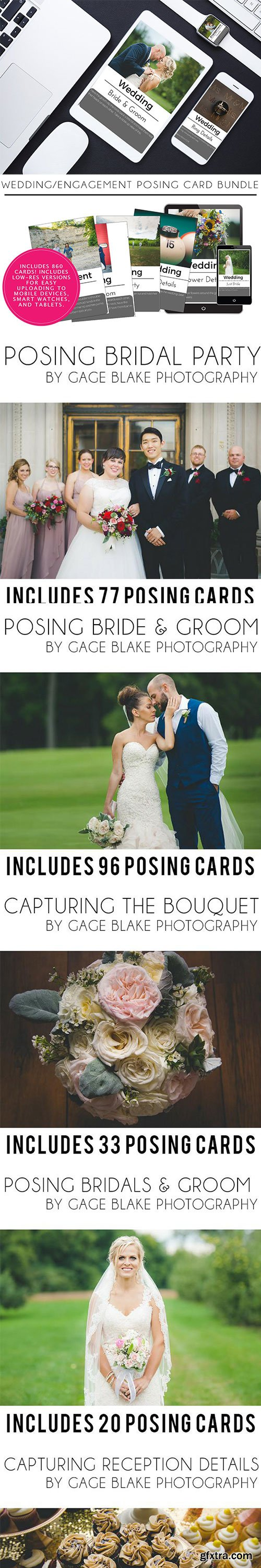 860 Wedding and Engagement Posing Card Bundle by Gage Blake Photography