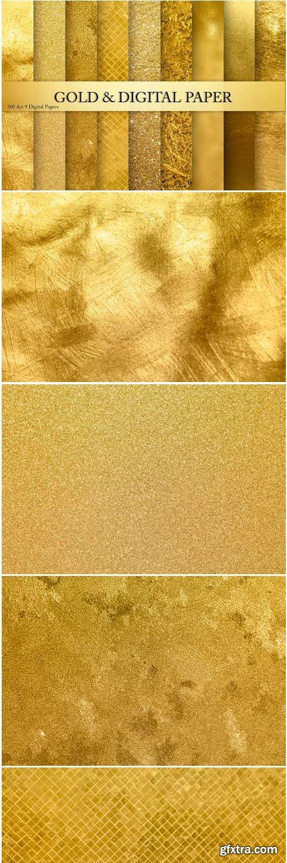 Gold Foil Glitter Textures, Backgrounds 1502555