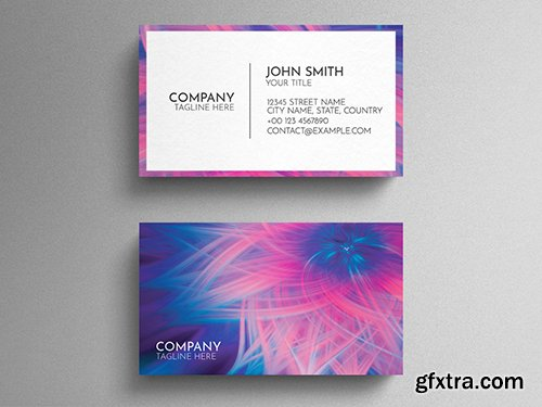Blue And Pink Business Card Layout with Colorful Abstract Floral Design 271838780