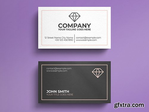 White and Grey Business Card Layout with Diamond Logo 271451206