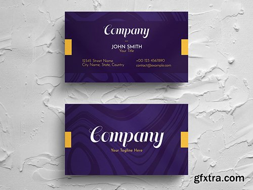Simple Purple Business Card Layout with Yellow Accent 271451281