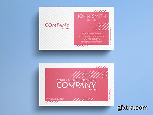 Corporate White And Pink Business Card Layout with Line Accents 271838776