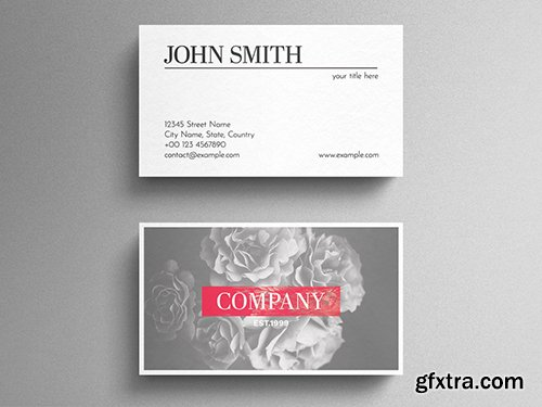 Grey Floral Business Card Layout with Red Accent 271838735
