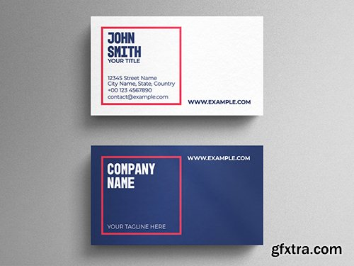 Modern Corporate Business Card Layout with Red Square Accent 271838737