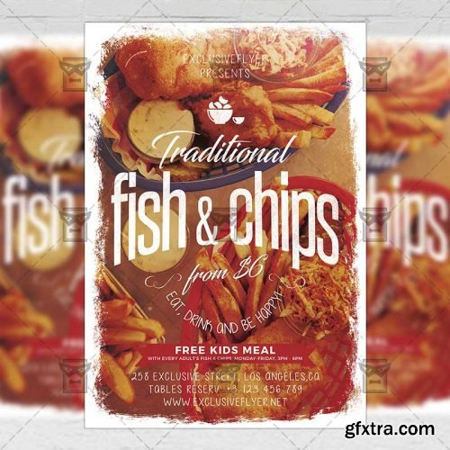 Traditional Fish and Chips Flyer – Food A5 Template