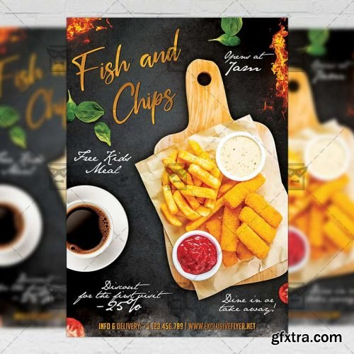 Fish and Chips Flyer – Food A5 Template