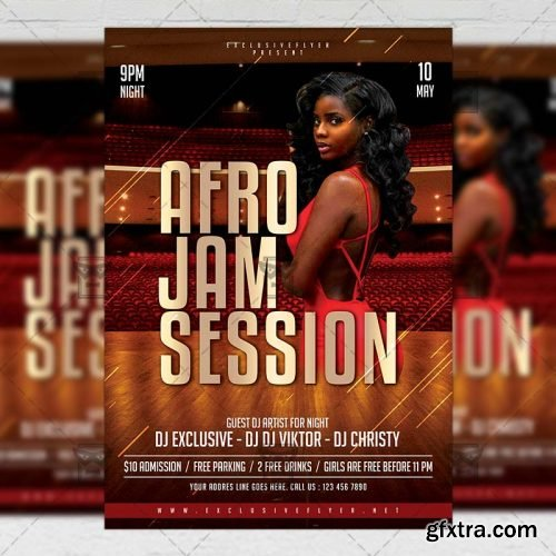 Afro Jam Session Flyer – Club A5 Template