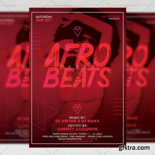 Afro Beats Party Flyer – Club A5 Template
