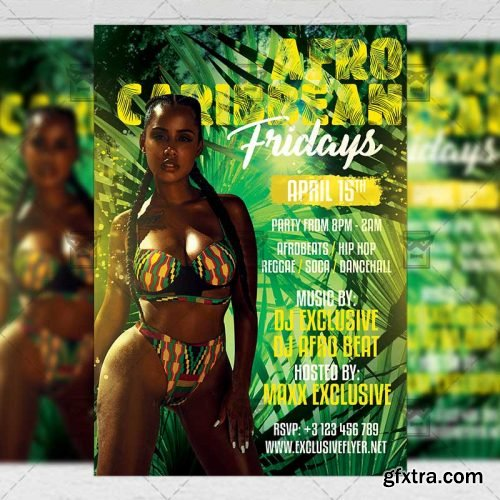 Afro Caribbean Fridays Flyer – Club A5 Template
