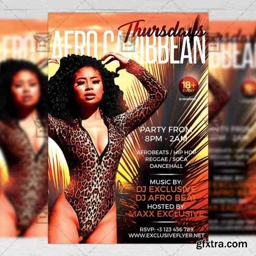 Afro Caribbean Thursdays Flyer – Club A5 Template