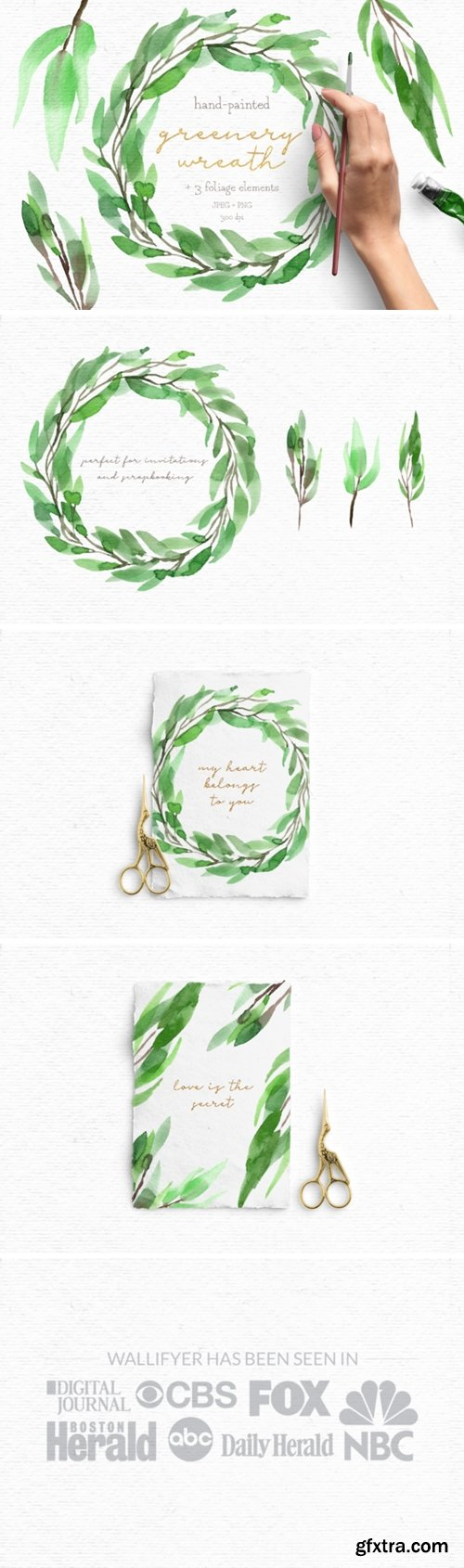 Greenery Watercolor Wreath Clipart Pack 1505659