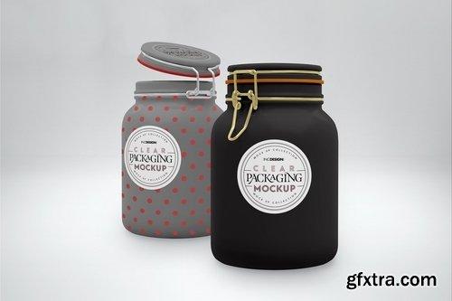 Clear 1.5liter Mason Clip Jars Mockup