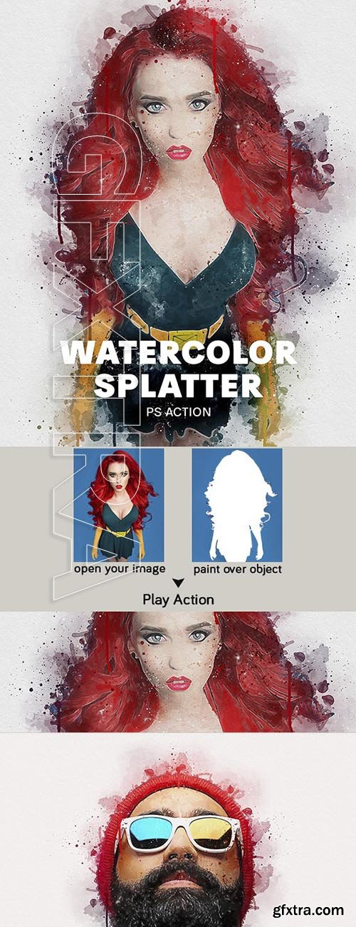GraphicRiver - Watercolor Splatter Photoshop Action 23940108