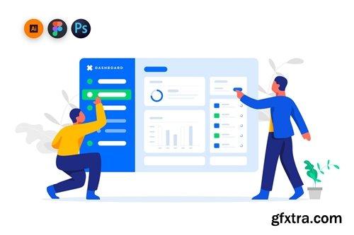 Management Dashboard illustration for website